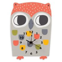 Trend Lab® Olive Owl Wall Clock in Grey/Coral