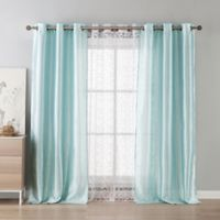 Kensie Leoc 84-Inch Grommet Top Room Darkening Window Curtain Panel Pair in Mint