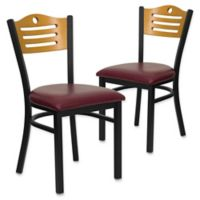 Flash Furniture Slat Back Metal and Natural Wood Chairs with Burgundy Vinyl Seats (Set of 2)