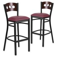 Flash Furniture Circle Back Metal and Walnut Wood Bar Stools with Burgundy Vinyl Seats (Set of 2)