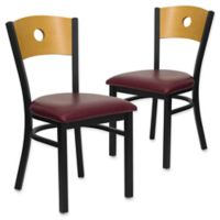 Flash Furniture Circle Back Metal and Natural Wood Chairs with Burgundy Vinyl Seats (Set of 2)