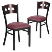 Flash Furniture Circle Back Metal and Walnut Wood Chairs with Burgundy Vinyl Seats (Set of 2)