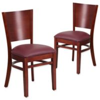 Flash Furniture Solid Back Mahogany Wood Chairs with Burgundy Vinyl Seats (Set of 2)