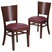 Flash Furniture Solid Back Walnut Wood Chairs with Burgundy Vinyl Seats (Set of 2)