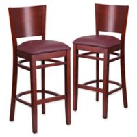 Flash Furniture Solid Back Mahogany Wood Stools with Burgundy Vinyl Seats (Set of 2)