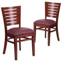 Flash Furniture Slat Back Mahogany Wood Chairs with Burgundy Vinyl Seats (Set of 2)