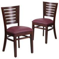 Flash Furniture Slat Back Walnut Wood Chairs with Burgundy Vinyl Seats (Set of 2)