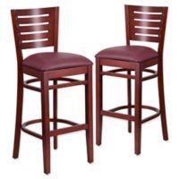 Flash Furniture Slat Back Mahogany Wood Stools with Burgundy Vinyl Seats (Set of 2)
