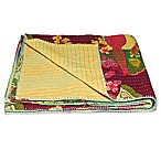 Kantha Cotton Throw in Burgundy and Yellow