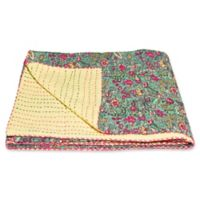 Kantha Cotton Throw in Pink and Green