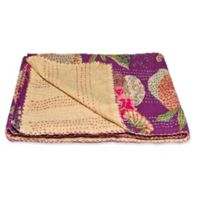 Kantha Cotton Throw in Cream and Purple