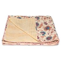 Kantha Cotton Throw in Yellow and Pink