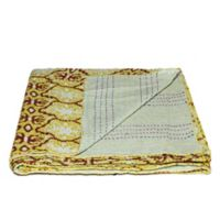 Kantha Cotton Throw in Mustard Multicolor