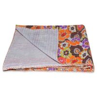 Kantha Cotton Throw in Orange and Grey