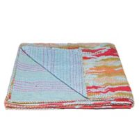 Kantha Cotton Throw in Blue and Red