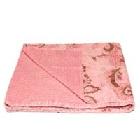 Kantha Cotton Throw in Pink and Brown