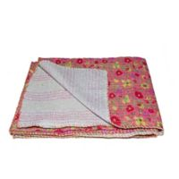 Kantha Cotton Throw in Grey and Pink