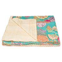 Kantha Cotton Throw in Turquoise and Cream