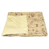 Kantha Cotton Throw in Yellow and Brown