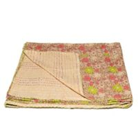 Kantha Cotton Throw in Beige and Pink