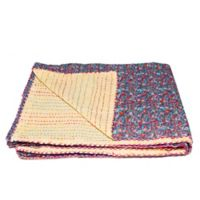 Kantha Cotton Throw in Purple and Yellow