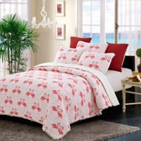 Susan Emma Flamingo Dance Reversible King Quilt Set in Pink