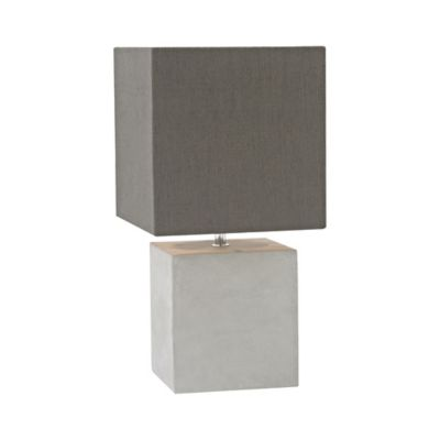 Brocke Table Lamp In Concrete With Linen Shade