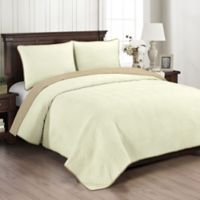 Brielle Wave Embroidered Twin Quilt Set in Ivory/Linen