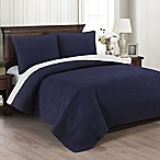 Brielle Wave Embroidered Full/Queen Quilt Set in Navy/White