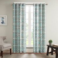 Madison Park Ashlin 63-Inch Diamond Printed Window Curtain Panel in Aqua