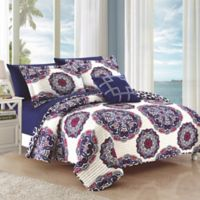 Chic Home Mirador Reversible Full/Queen Quilt Set in Navy