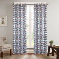 Madison Park Ashlin 84-Inch Diamond Printed Window Curtain Panel in Navy