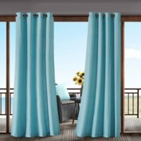 Madison Park Pacifica Solid 3M Scotchgard 84-Inch Grommet Top Outdoor Curtain Panel in Aqua