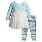 Sweet Heart Rose Size 6-9M 2-Piece Sweater and Mesh Dress and Legging Set in Turquoise/White