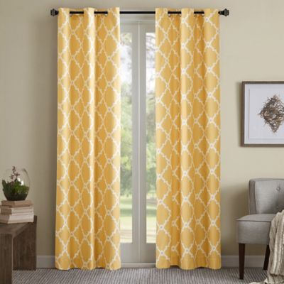 Madison Park Essentials Merritt Printed Fret Grommet Top 63 Inch Window Curtain Panel Pair In