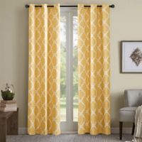 Madison Park Essentials Merritt Printed Fret Grommet Top 84-Inch Window Curtain Panel Pair in Yellow