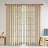 Madison Park Chainlink 95-Inch Rod Pocket/Back Tabs Window Curtain Panel in Natural