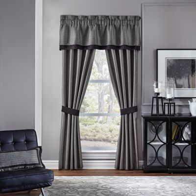 Croscill® Oden 84 Inch Rod Pocket Window Curtain Panel Pair In Charcoal