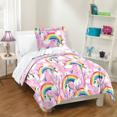 dream factory unicorn rainbow fullqueen reversible comforter set in pink