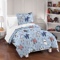 Dream Factory Dog Dreams Toddler Reversible Comforter Set in Blue