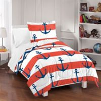 Dream Factory Sail Away Twin Reversible Comforter Set in Red