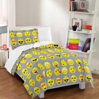 Dream Factory Emoji Reversible Toddler Comforter Set in Grey