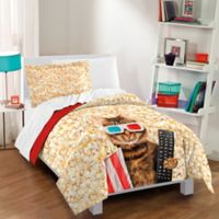 Dream Factory Movie Cat Twin Comforter Set in Red