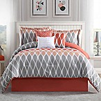 Studio 17 Clarisse 7-Piece Queen Reversible Comforter Set in Coral/Grey