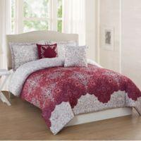 Studio 17 Ravenna 5-Piece Full/Queen Comforter Set in Burgundy