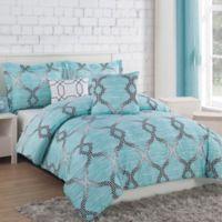 Project Generation Damaris 4-Piece Reversible Twin XL Comforter Set in Teal