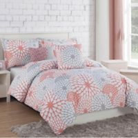 Project Generation Stella 5-Piece Reversible Full/Queen Comforter Set in Coral/Grey