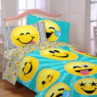Emojination Forever Happy 4-Piece Reversible Twin Comforter Set in Aqua/Black