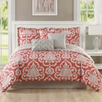 Studio 17 Dorian 7-Piece King Reversible Comforter Set in Coral/Taupe