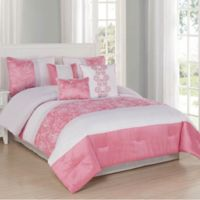 Studio 17 Blossom 7-Piece Queen Comforter Set in Coral/Ivory